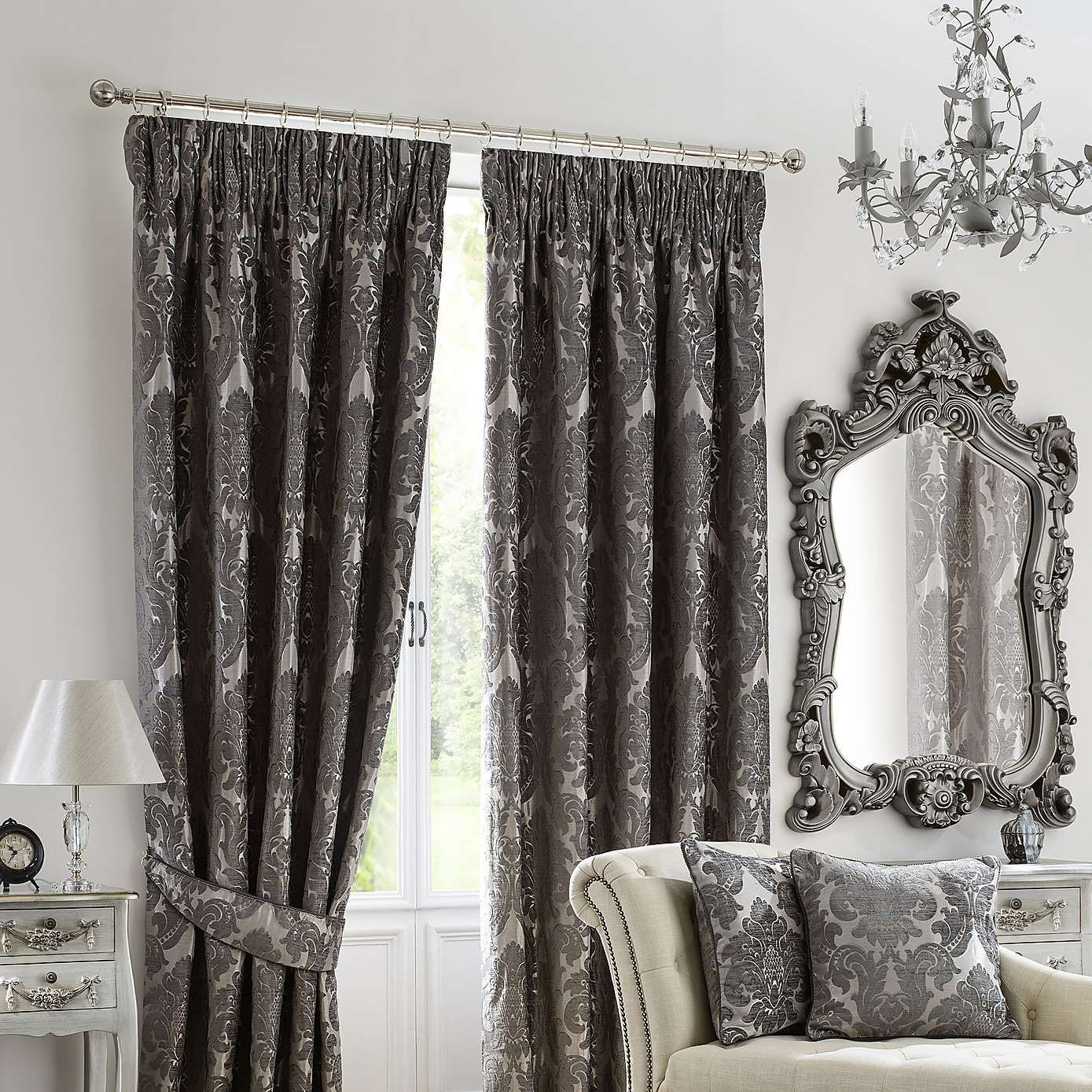 Versailles Charcoal Lined Pencil Pleat Curtains Soft