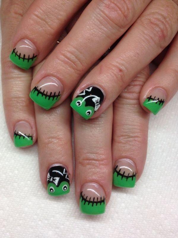 89+ Seriously Spooky Halloween Nail Art Ideas. Green Nail DesignsNail Tip  ...