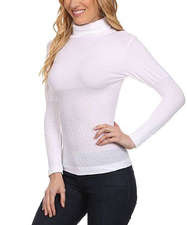 Look at this #zulilyfind! White Stretch Turtleneck Sweater #zulilyfinds