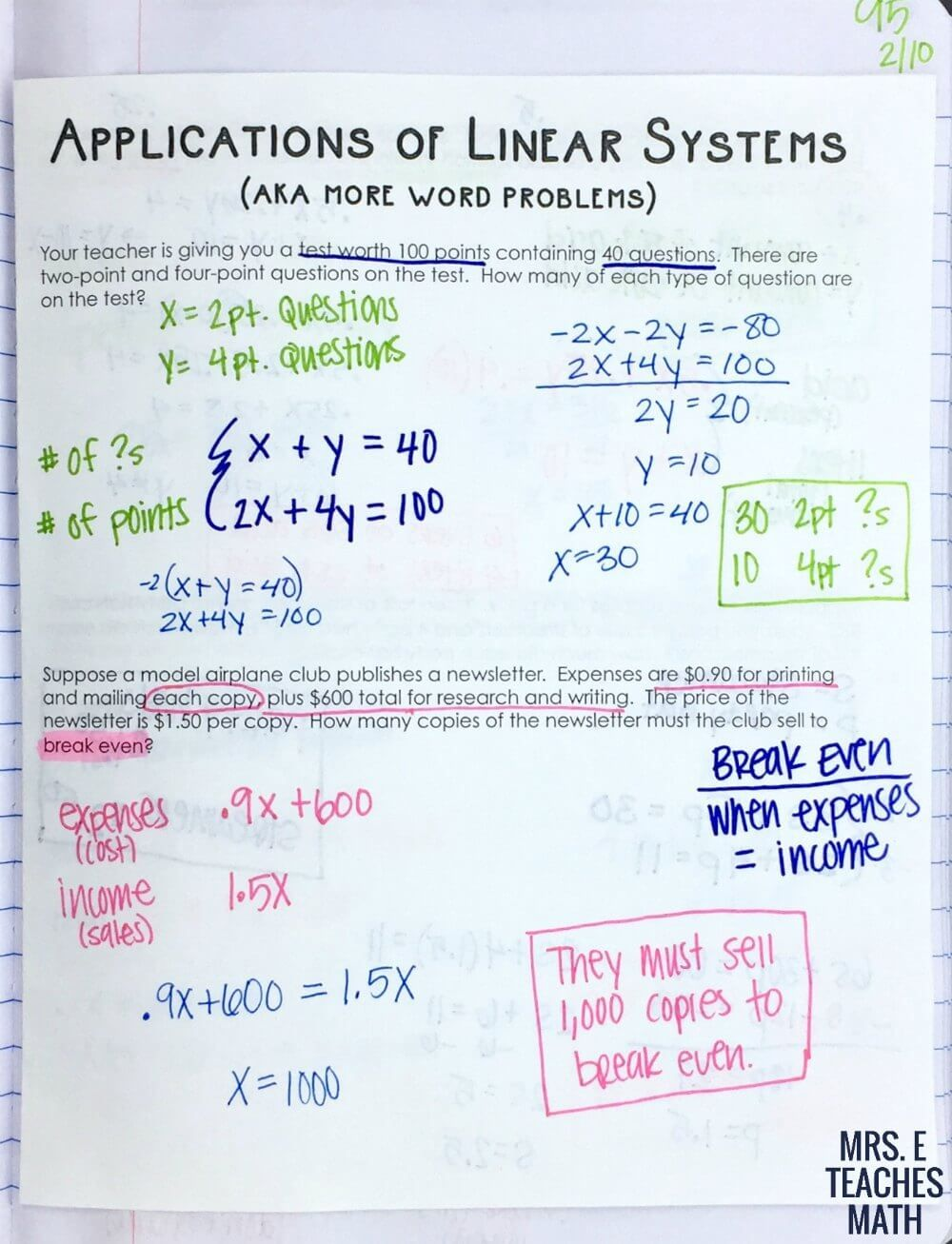 Systems of Linear Equations Word Problems INB Page Math