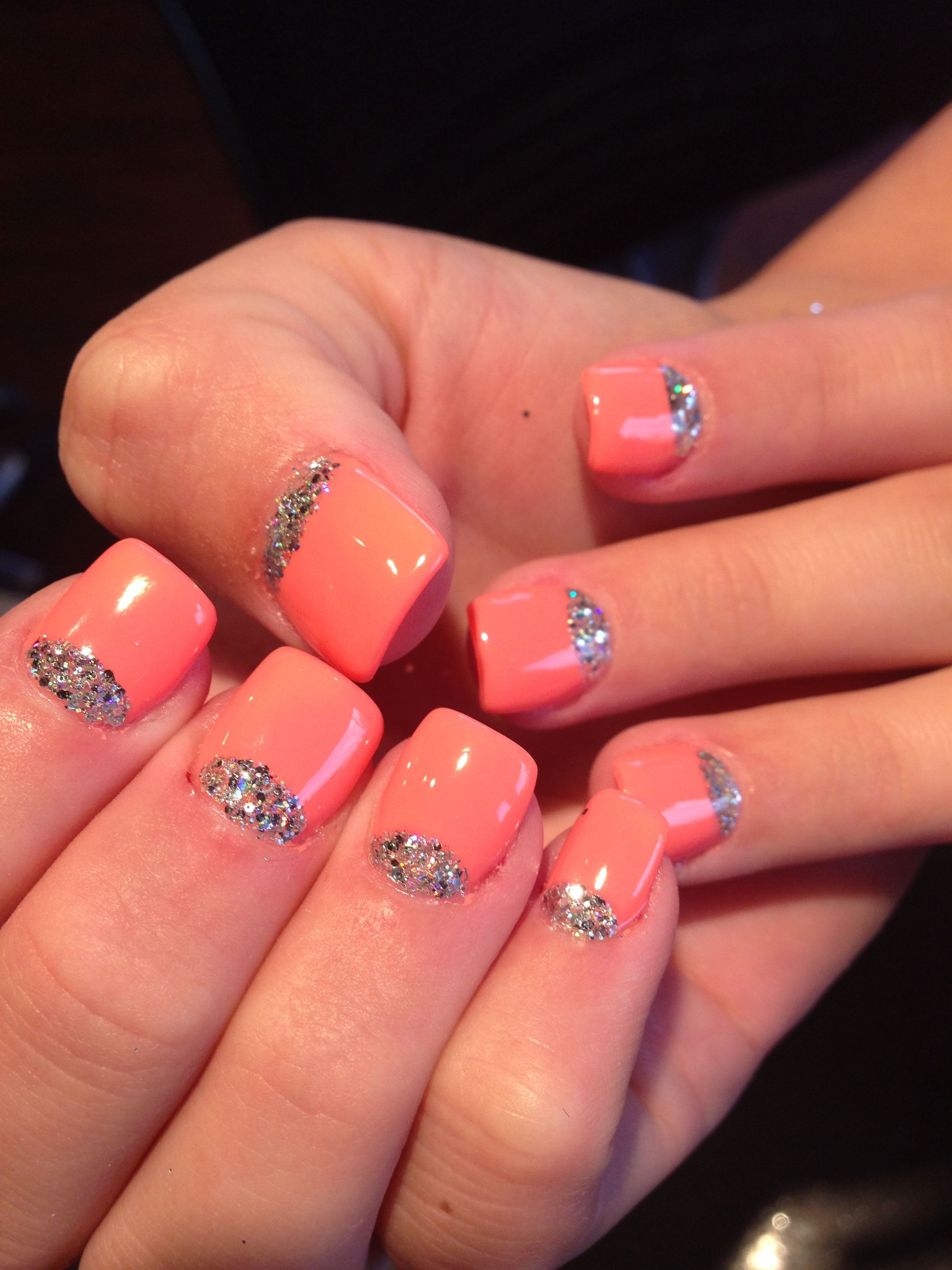 Half Moon Glitter Nails With Gel Color On Top Acrylic