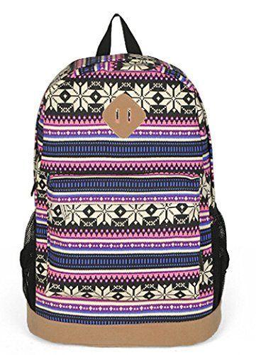 Unisex Tribal Boho Style Flower Print Canvas Backpack School ...