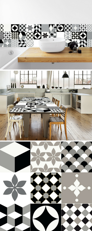 cr dence adh sif motifs carreaux de ciment en noir et blanc pour un relooking facile et. Black Bedroom Furniture Sets. Home Design Ideas