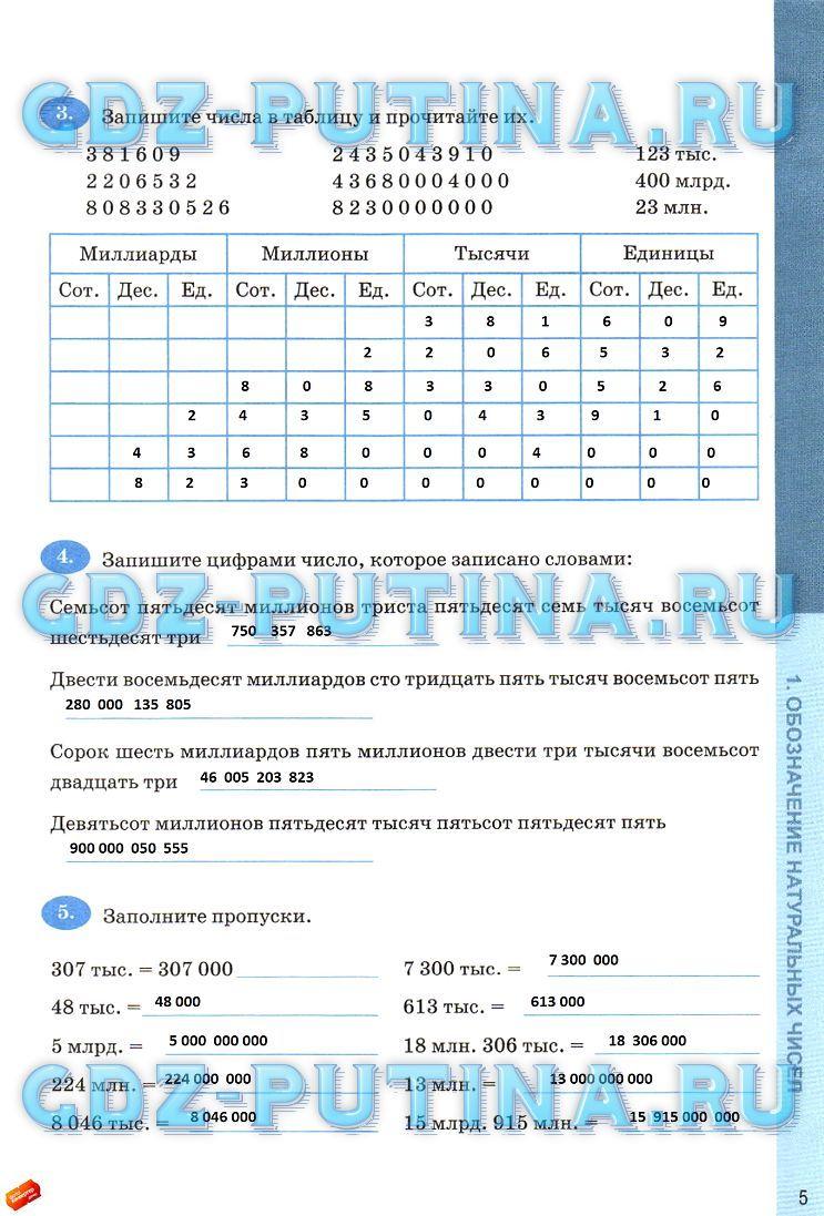 Ответы по математике печатная рабочая тетрадь 5 класс ерина