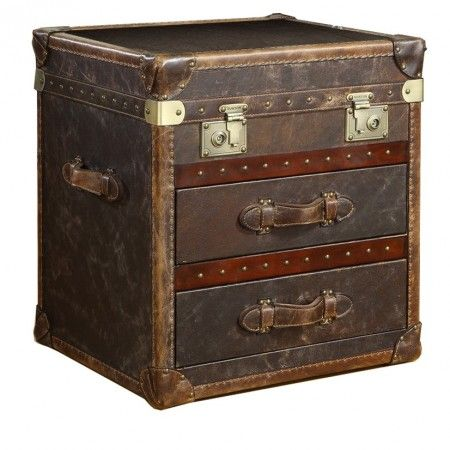 Vintage Steamer Side Table With 2 Drawers Cigar Leather Leather Trunk Trunk End Table Vintage Trunks Steamer trunk end table