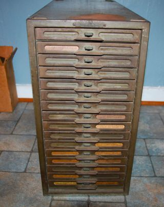 Vintage Industrial Remington Rand Kardex Metal File Cabinet 16 Drawers  Factory Photo
