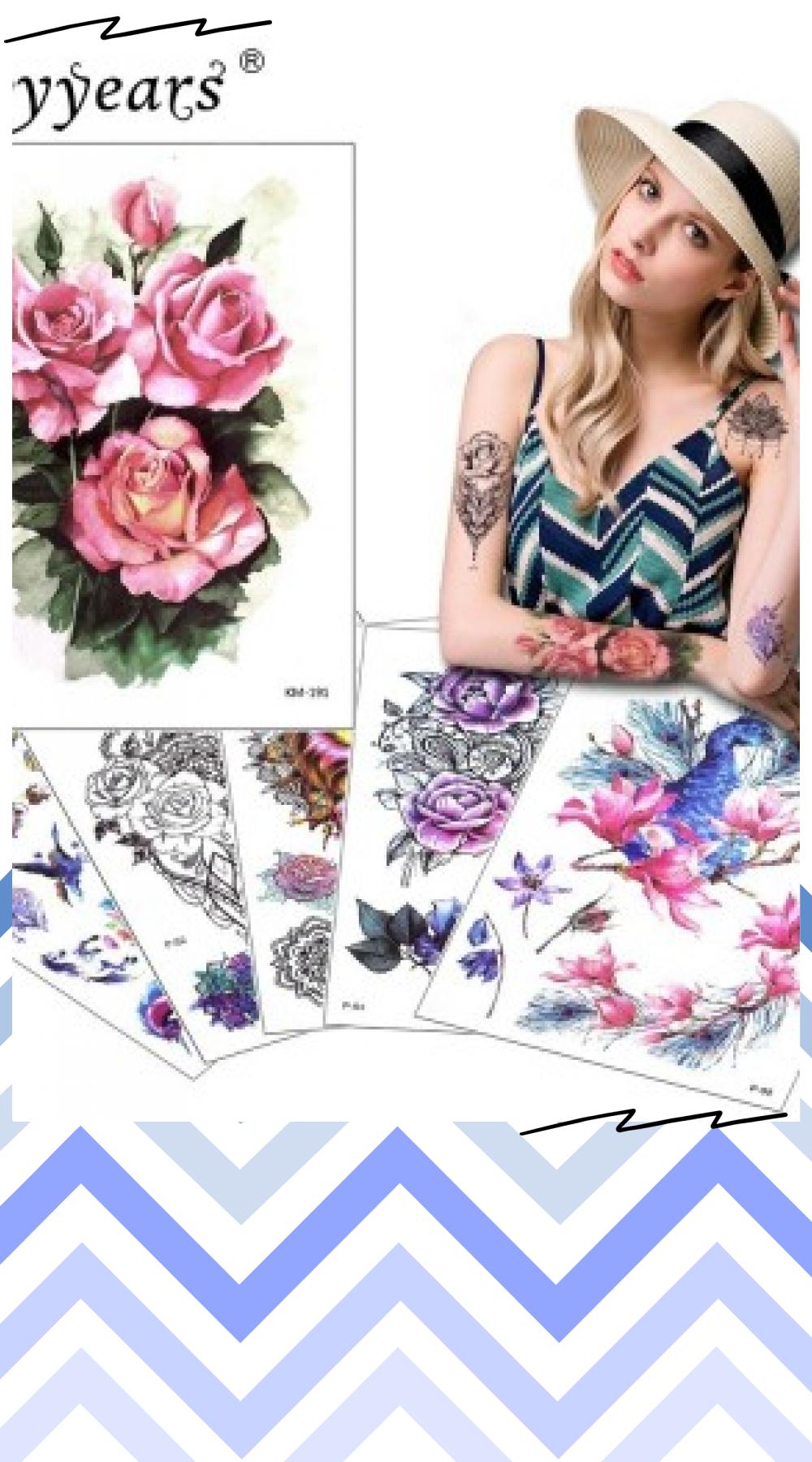 Glaryyears 1 Sheet Temporary Tattoo Sticker Flower Animal Fake Tatoo Flash Tatto Waterproof  Body Art Men Women P-5X