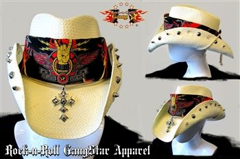 66e767a9d50c7 Rock-n-Roll GangStar custom shapeable cowboy hat adorned with spikes  amp   studs