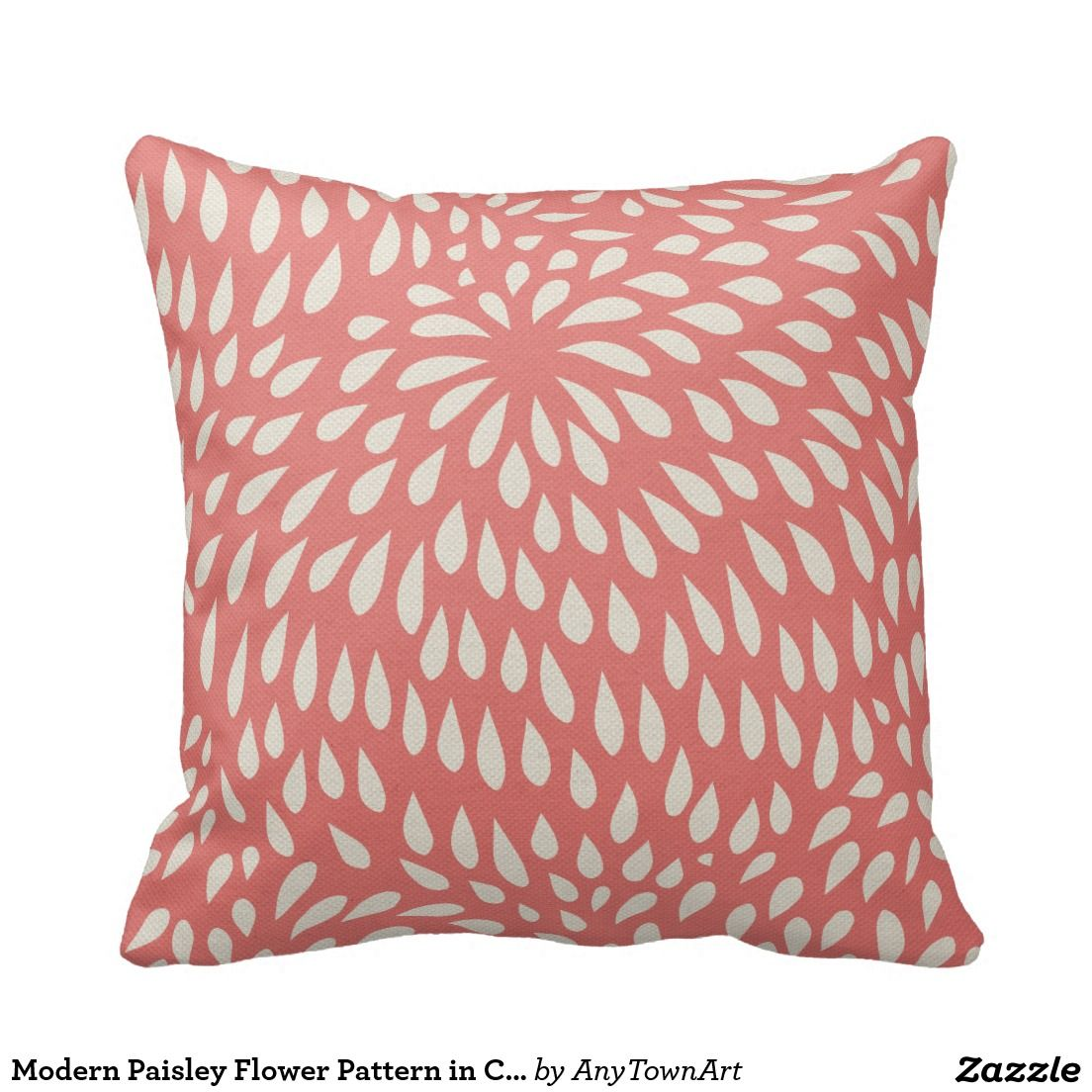 Modern Paisley Flower Pattern In Coral Pink Cushion Paisley Flower