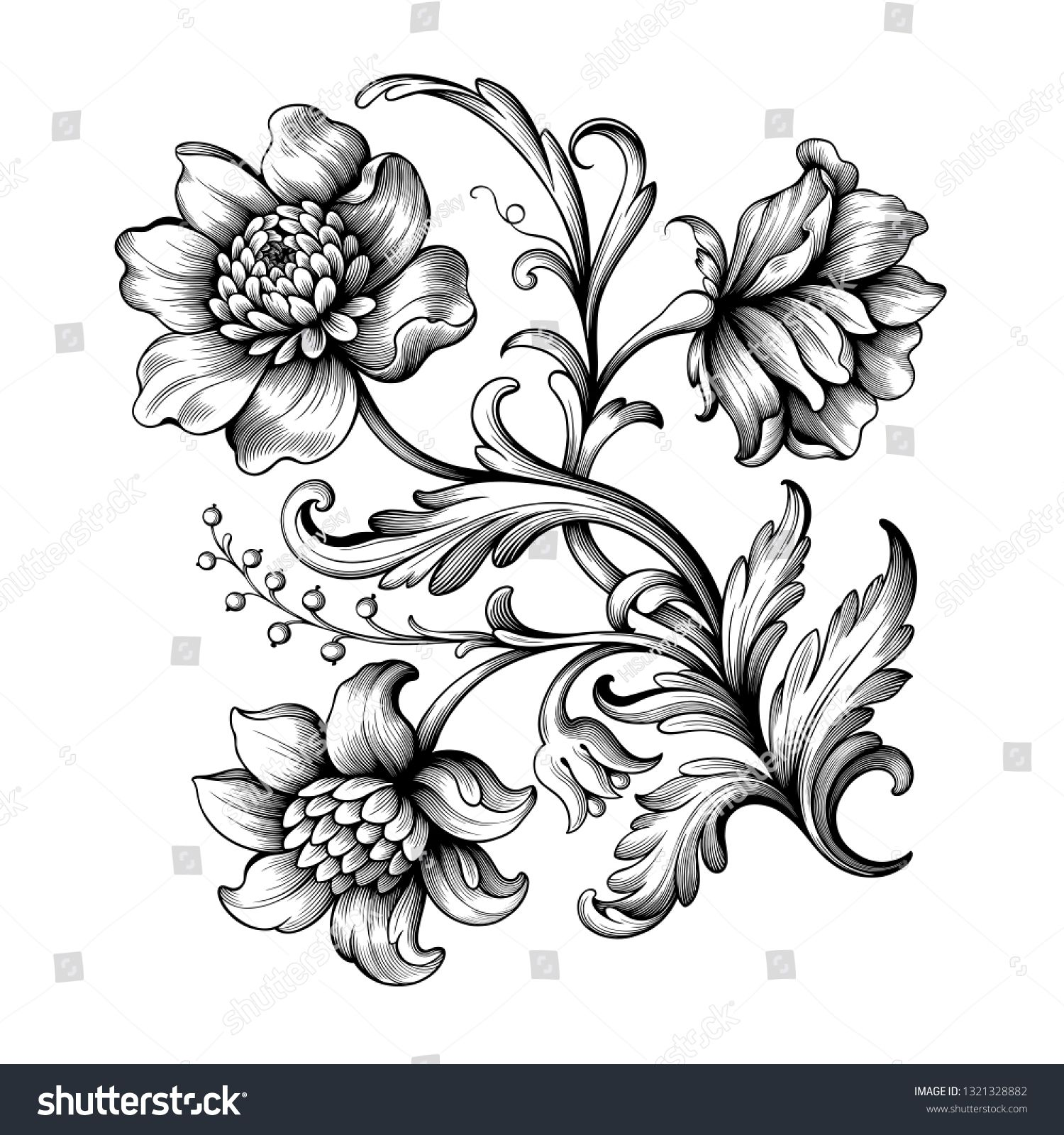 Flower Vintage Scroll Baroque Victorian Frame Border Rose Peony Floral Ornament Leaf Engraved Retro Patter In 2020 Vintage Flower Tattoo Filigree Tattoo Vintage Tattoo