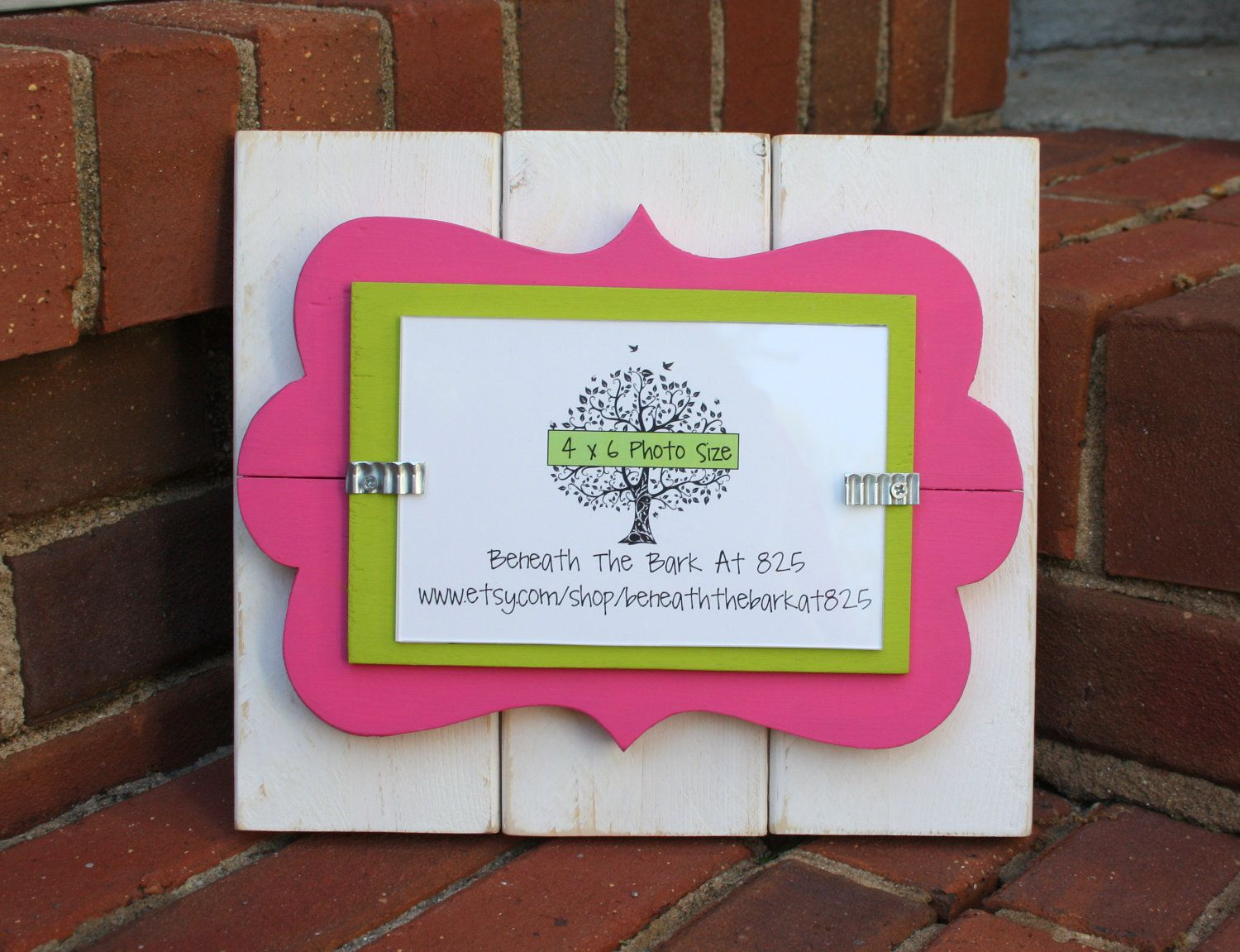 Wood picture frame with fun doodle cut out white pink green wood picture frame with fun doodle cut out white pink green holds jeuxipadfo Images