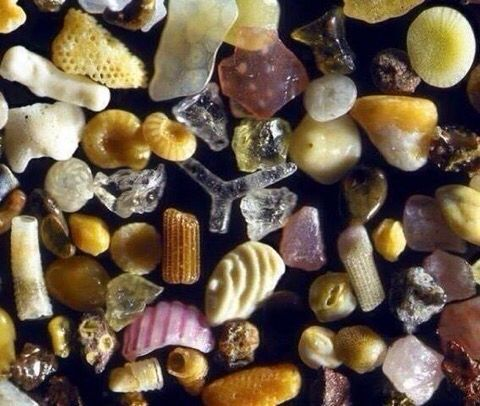 Sand under a microscope with 250x magnification.
