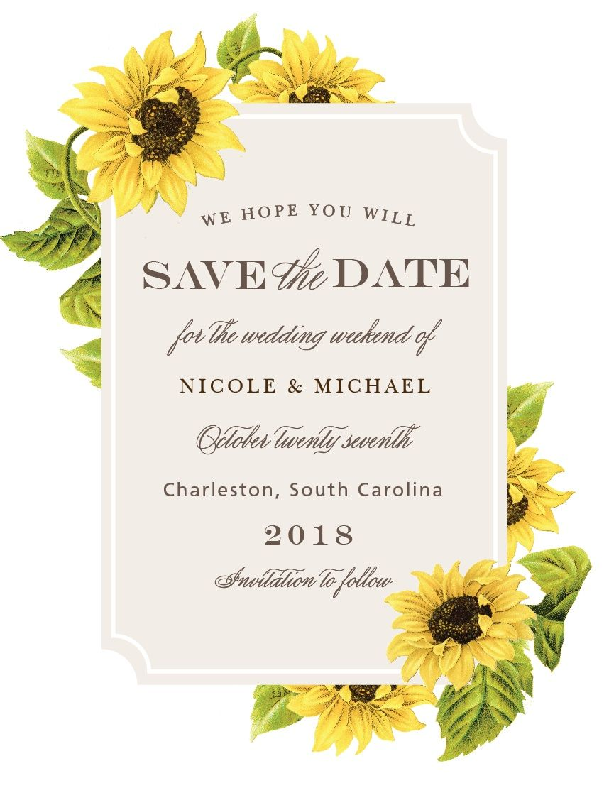 Sunflower Frame Save-the-Date Magnets | Pinterest | Magnets ...