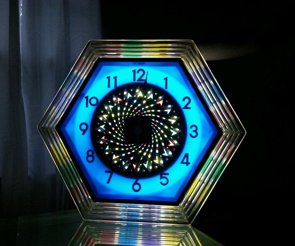 Vtg psychedelic kaleidoscope lighted wall clock starburst w vtg psychedelic kaleidoscope lighted wall clock starburst w original box hexagon amipublicfo Gallery