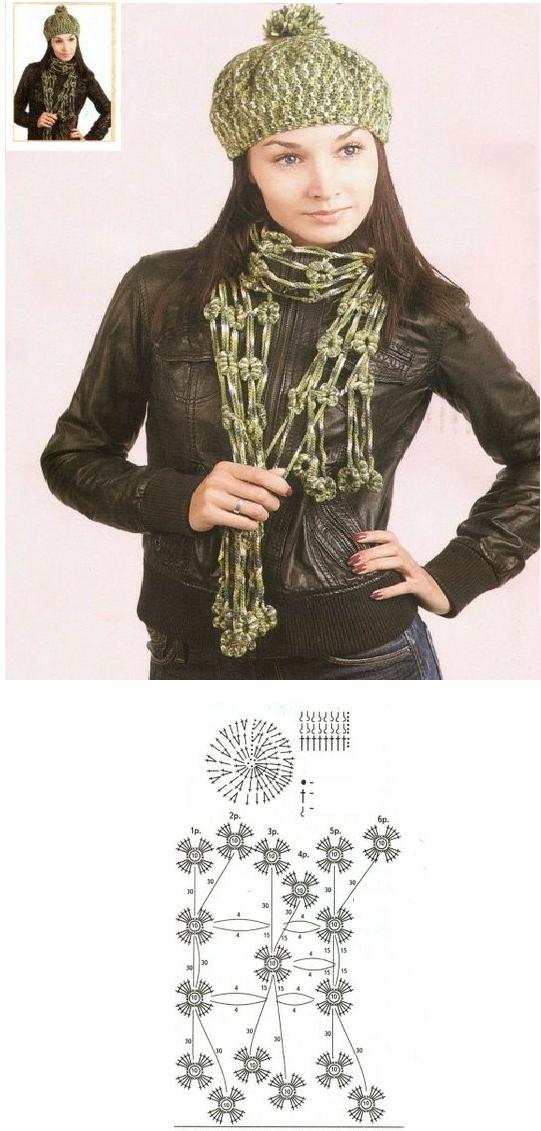 Bufanda Crochet Flores y Cadenetas - Patrones Crochet | bufandas ...