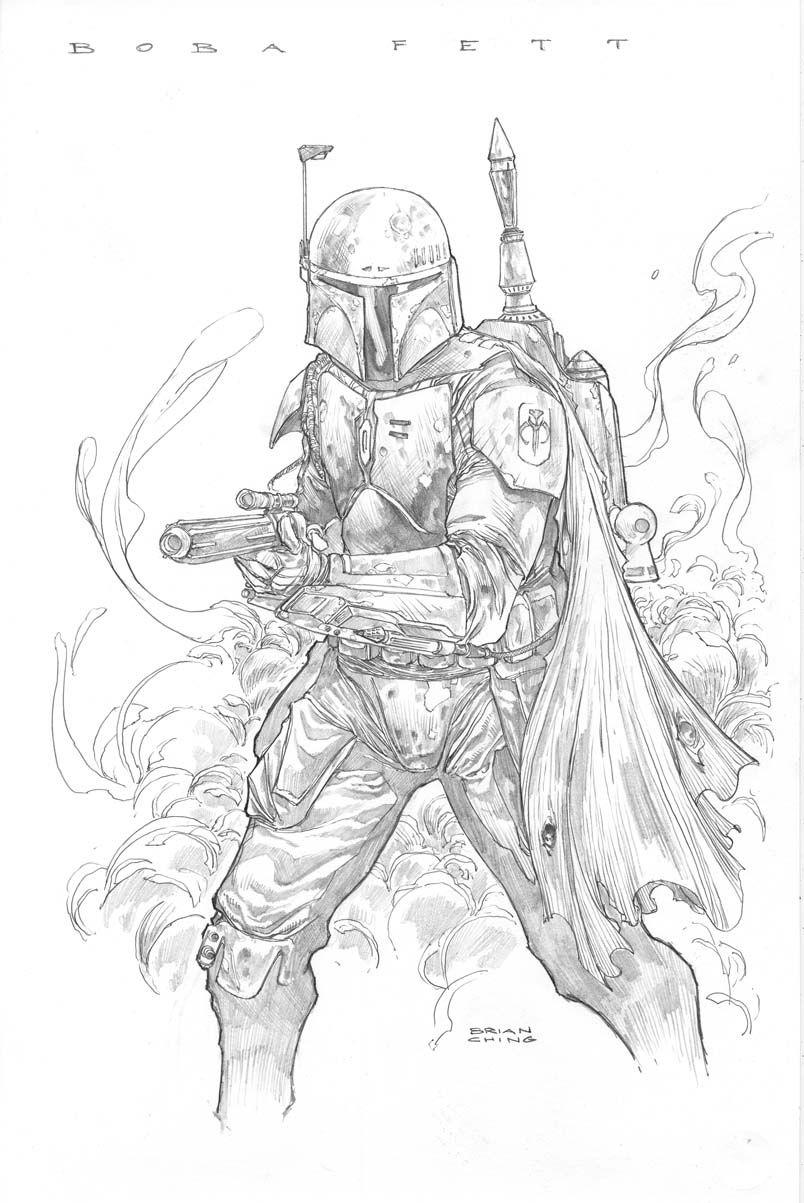 Boba Fett by Brian Ching Star wars drawings