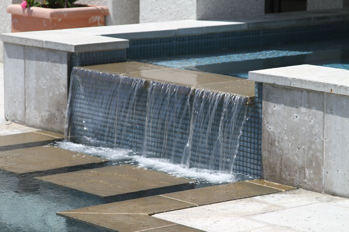 Residential spa with water feature located on the Isle of Palms, SC