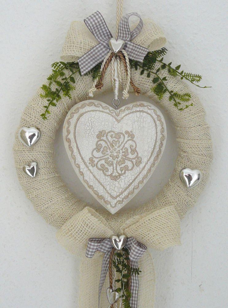 Turkranz Creme Braun Grosses Herz Kranz Turdeko Wandkranz Hochzeit