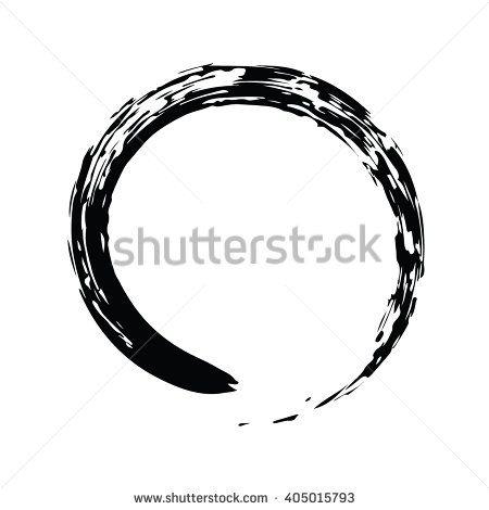 Black Chinese Brush Draw The Symbol Of Zen Chinese And Japanese
