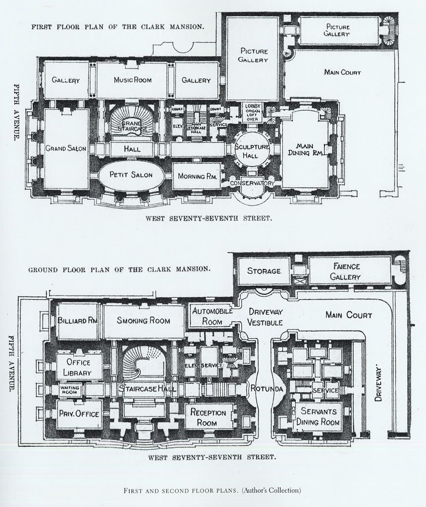 Mansion Floor Plans: William A. Clark House, New York