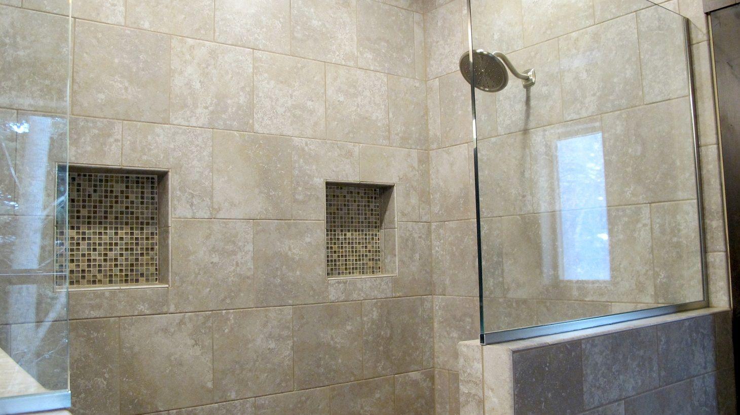 Shower master bathroom suite glass partition walk in niche for Master bathroom grey tile