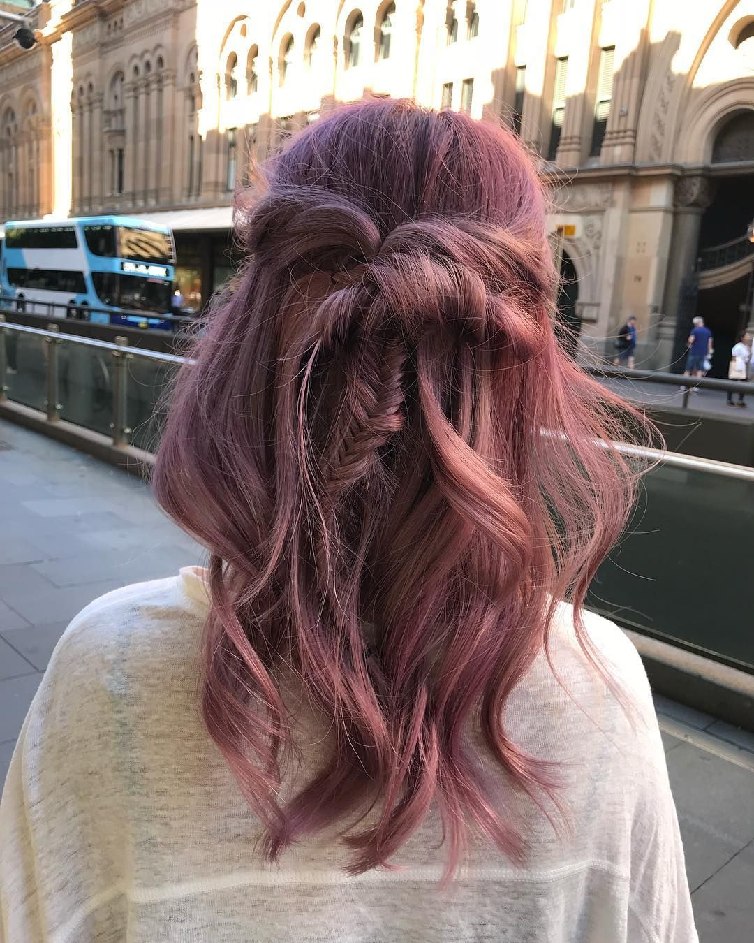 fishtail with smooth shiny waves hairstyle in pretty hair