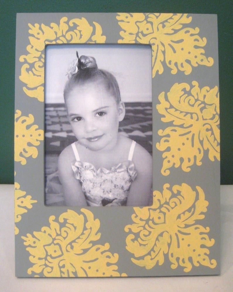 Hand Painted 4x6 Picture Frame , Gray and Yellow Damask , Bridal ...