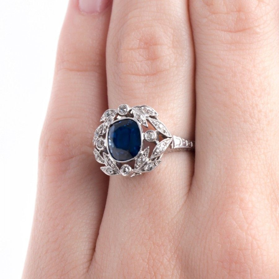 Magnificent Edwardian Era Engagement Ring with Stunning Sapphire and ...