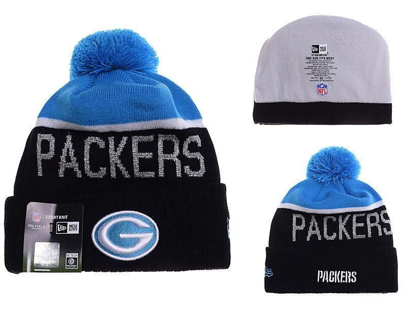 4fbe3b0a264 Mens   Womens Green Bay Packers New Era NFL Graphite Blue Snapshot Sport  Vivid Team Graphic Cuffed Knit Pom Beanie Hat