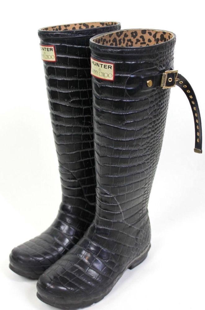cbe07add7810a Jimmy Choo by Hunter Rain Boots Crocodile Alligator Print Black Rubber Knee  9 40  Hunter  Rainboots