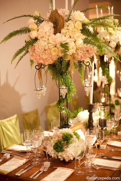 Table Topper With Ferns Hanging Candles Wedding Centerpieces