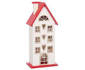 Maison décorative bois de paulownia, rouge et blanc - L29
