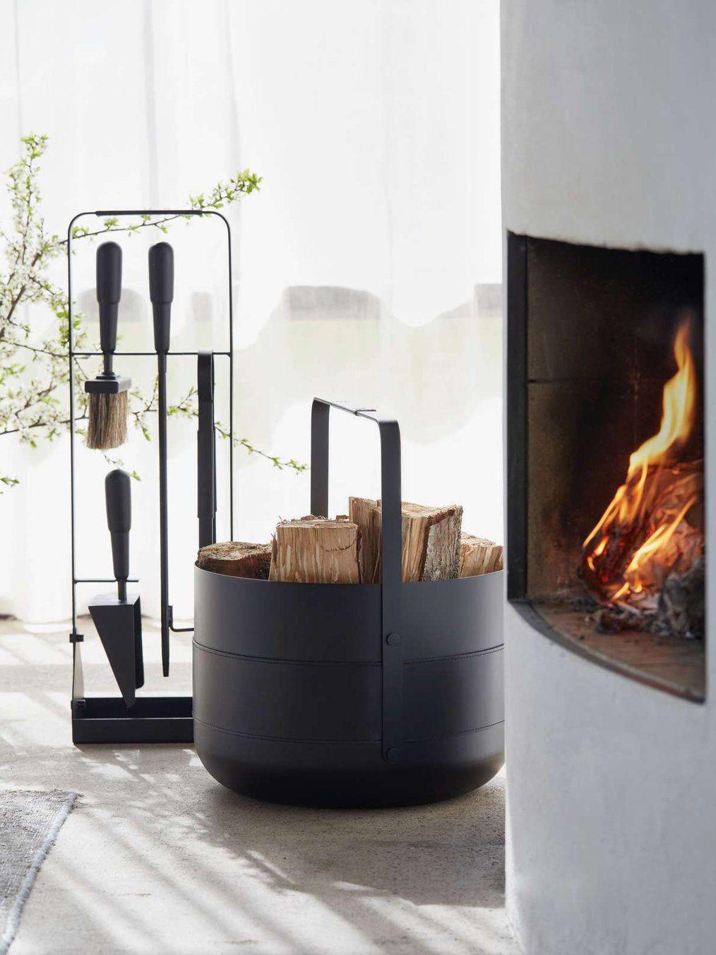 Emma Fireplace Set With Brass Details In Black By Eldvarm In 2020 Fireplace Set Scandinavian Fireplace Fireplace Baskets