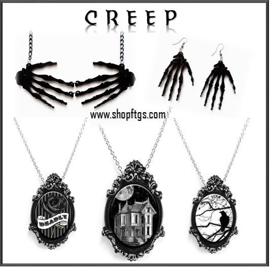 Creep Jewelry from www.shopftgs.com #hauntedhouse #deadly #blackrose #raven #skeleton #black #Halloween #jewelry