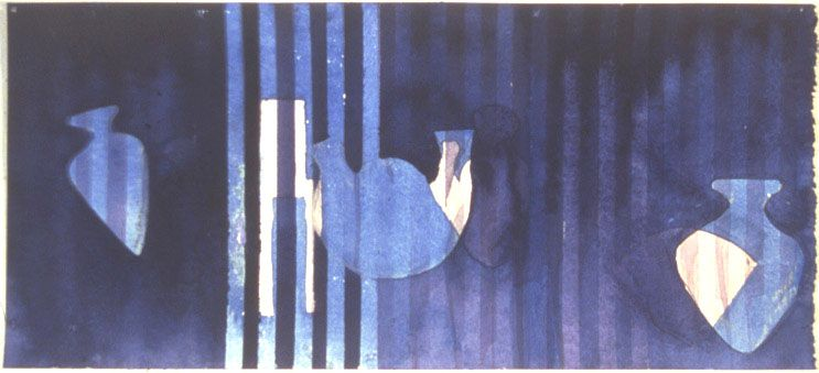 "Denise Green - Works On Paper |  'Kieve (Indigo), 2003, 11 x 24"", watercolour, airbrush, acrylic, ink on paper"