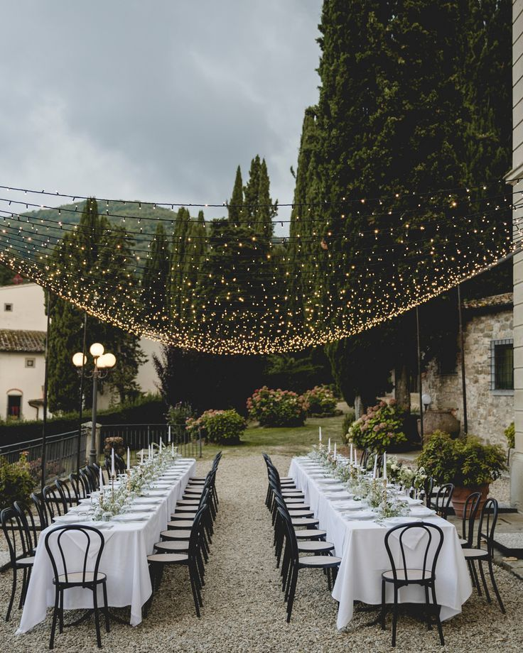 Inspiration: The beauty of string lights is that they aren't too heavy and can be strung nearly anywhere. Take this lovely al fresco dinner, where Italian Eye and GB Audio used a few poles with bases to install twinkling strands. What that means is they can go over any part ofyour ceremony, cocktail hour, or reception.