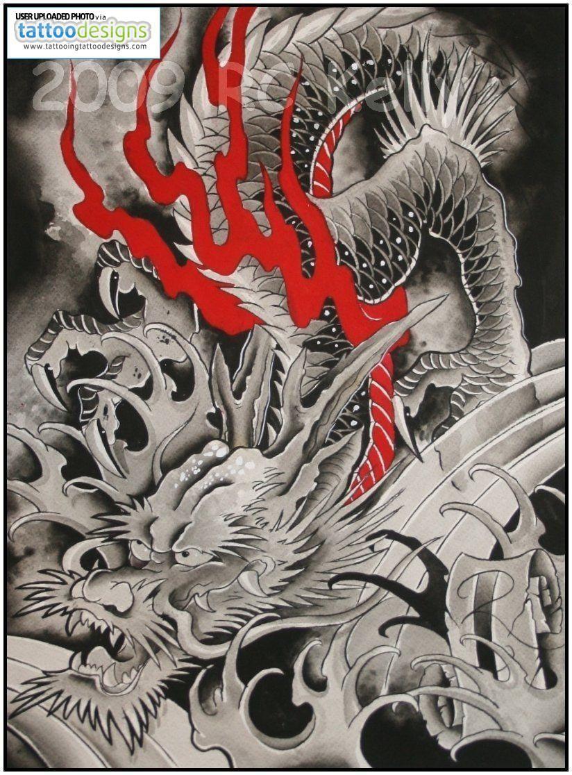 goodies japanese black white dragon watercolor print tattoo art