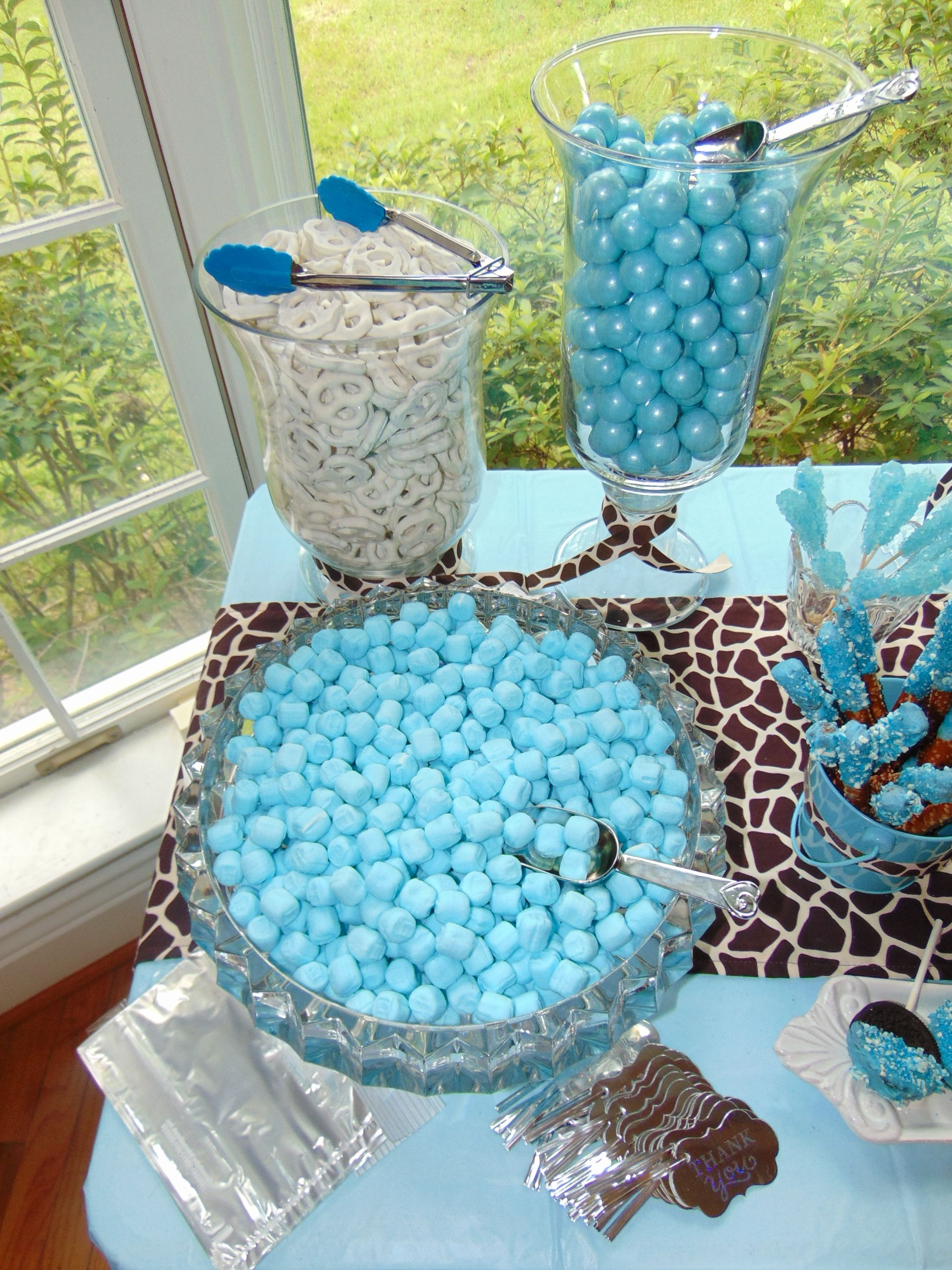 Baby Boy Blue With Giraffe Print Candy Bar Diy With