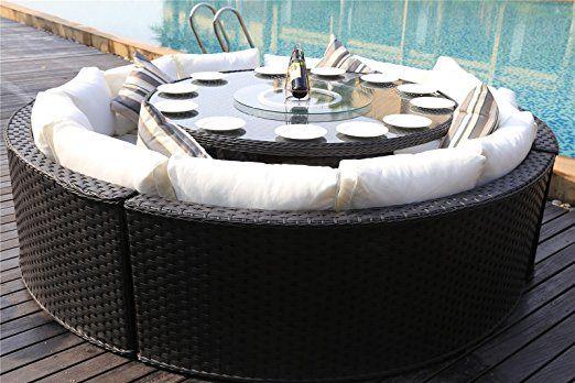 Amazon De Yakoe 50142 Monaco 10 Sitzer Rund Rattan Gartenmobel