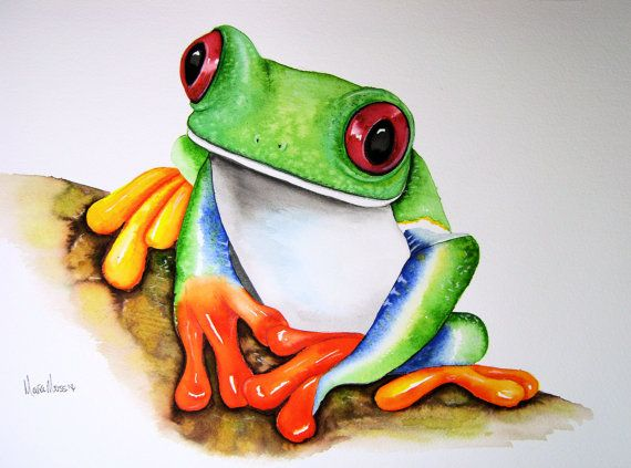 "An original watercolour TREE FROG painting by artist Maria Moss. A3 size painting 16.5"" x 11.5"""