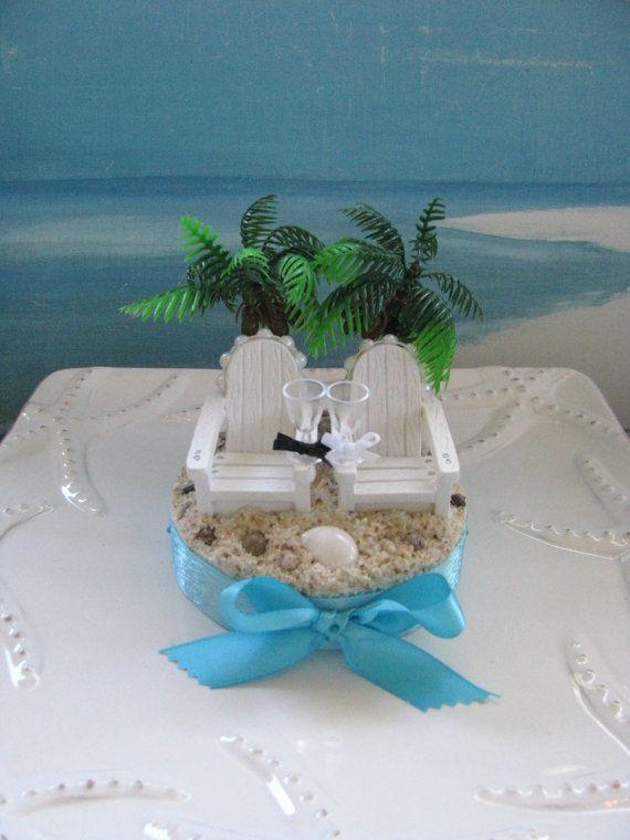 Adirondack Chairs Under The Palm Trees Beach Wedding Cake Topperby CeShoreTreasures