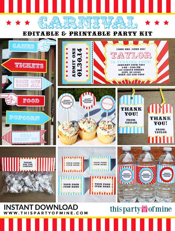 Carnival Party Full Printable Birthday Party di thispartyofmine