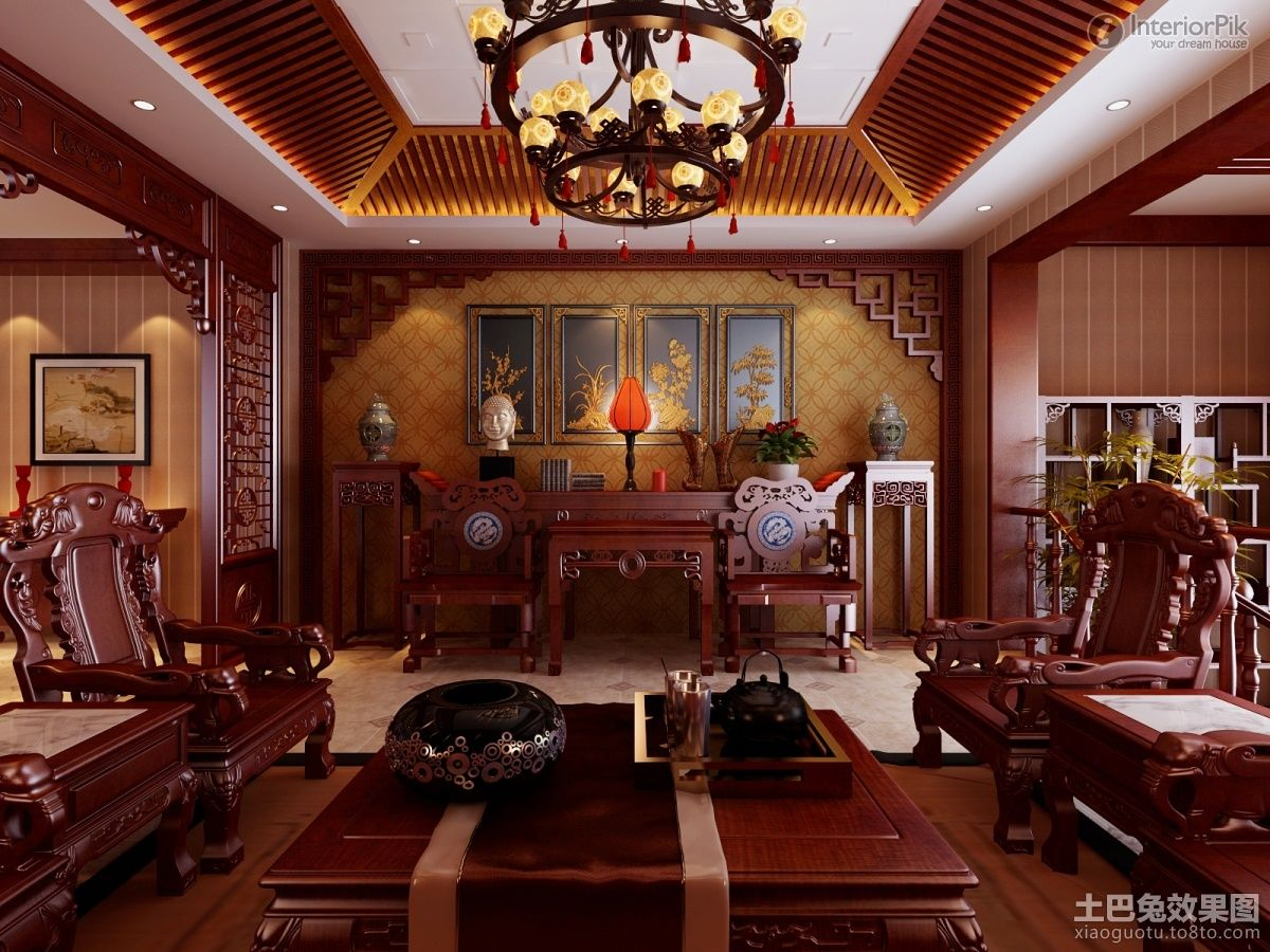 Effect Picture Of Chinese Style Villa Home Living Room Decoration