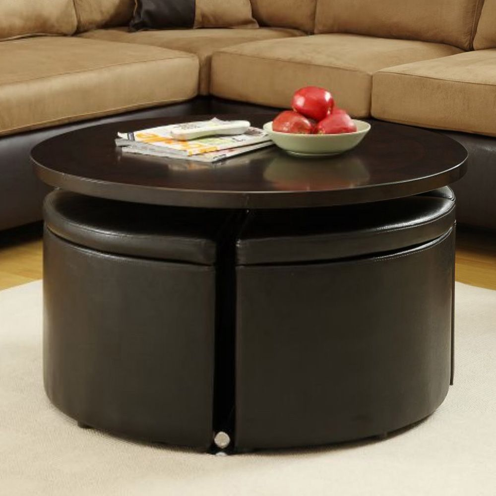 Black Leather Round Storage Ottoman With Tray And Wood Legs For
