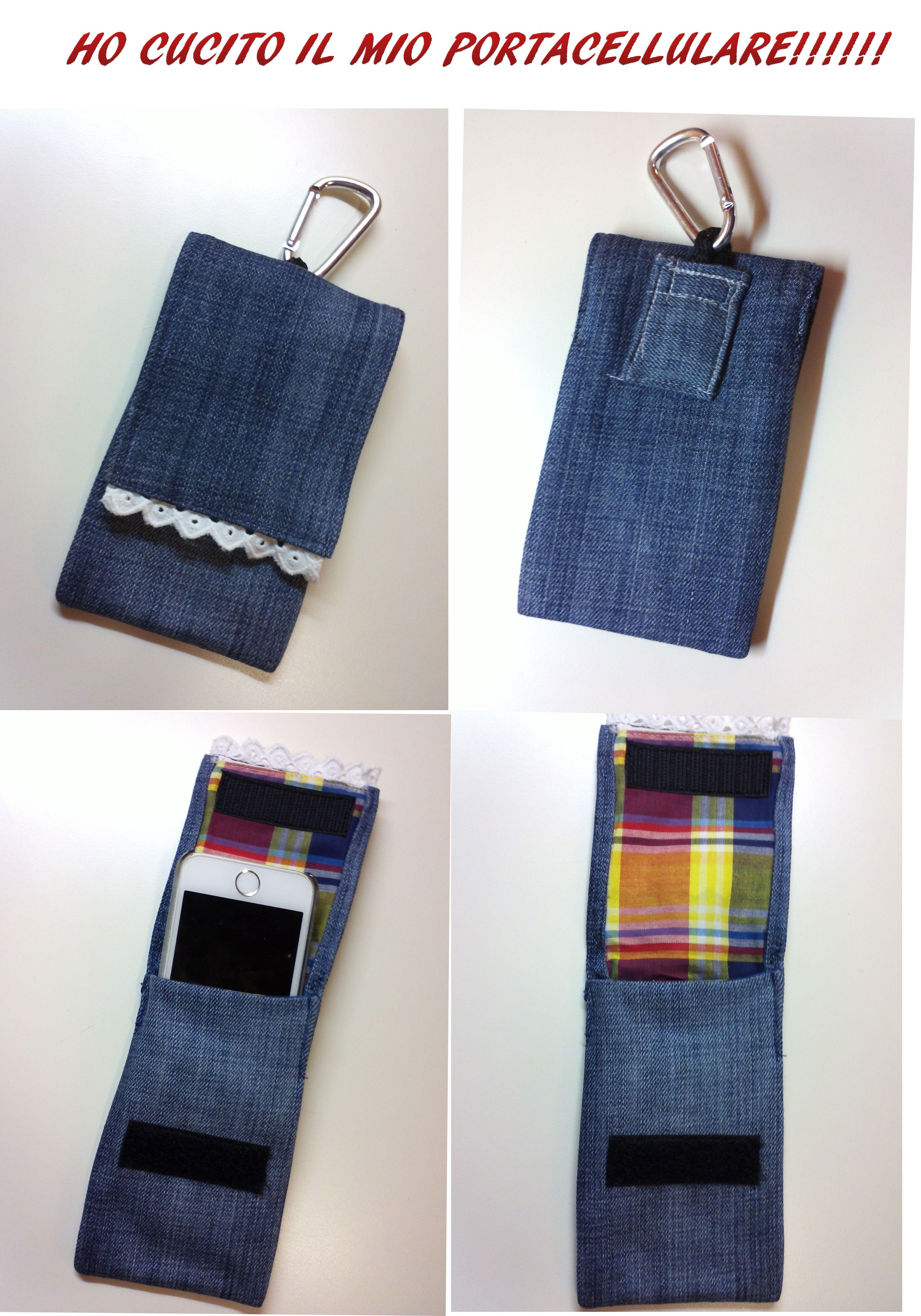 stamattina ho cucito il mio portacellulare in jeans fai