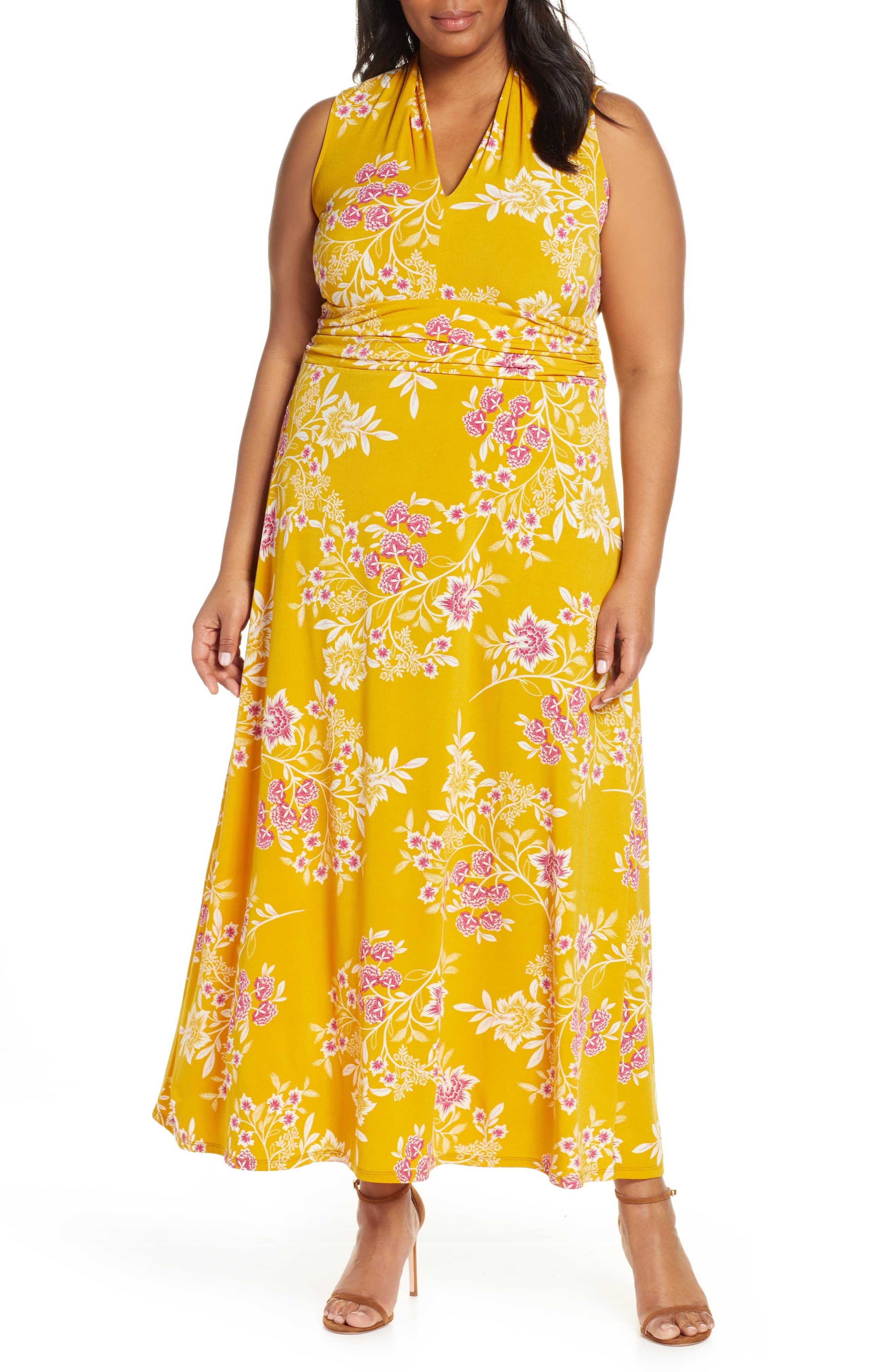 Vince Camuto Floral Getaway Maxi Dress (Plus Size | Plus ...