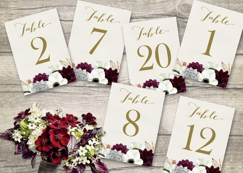Printable Table Numbers, Wedding Table Numbers 1-20, Floral wedding ...