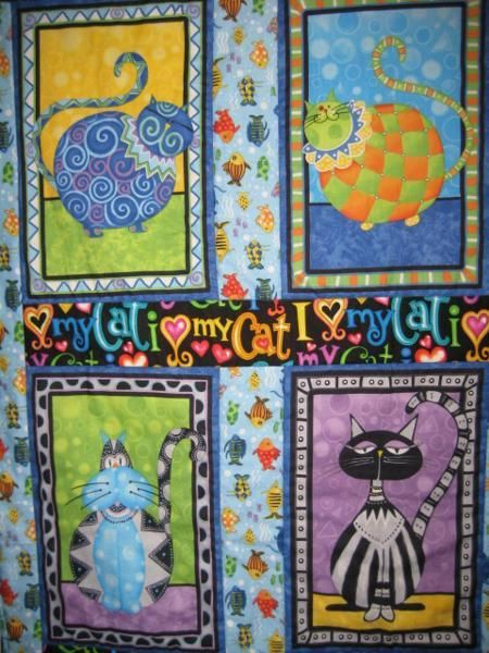 Whimsical Kitty Lap Throw or Baby Quilt | patchwork