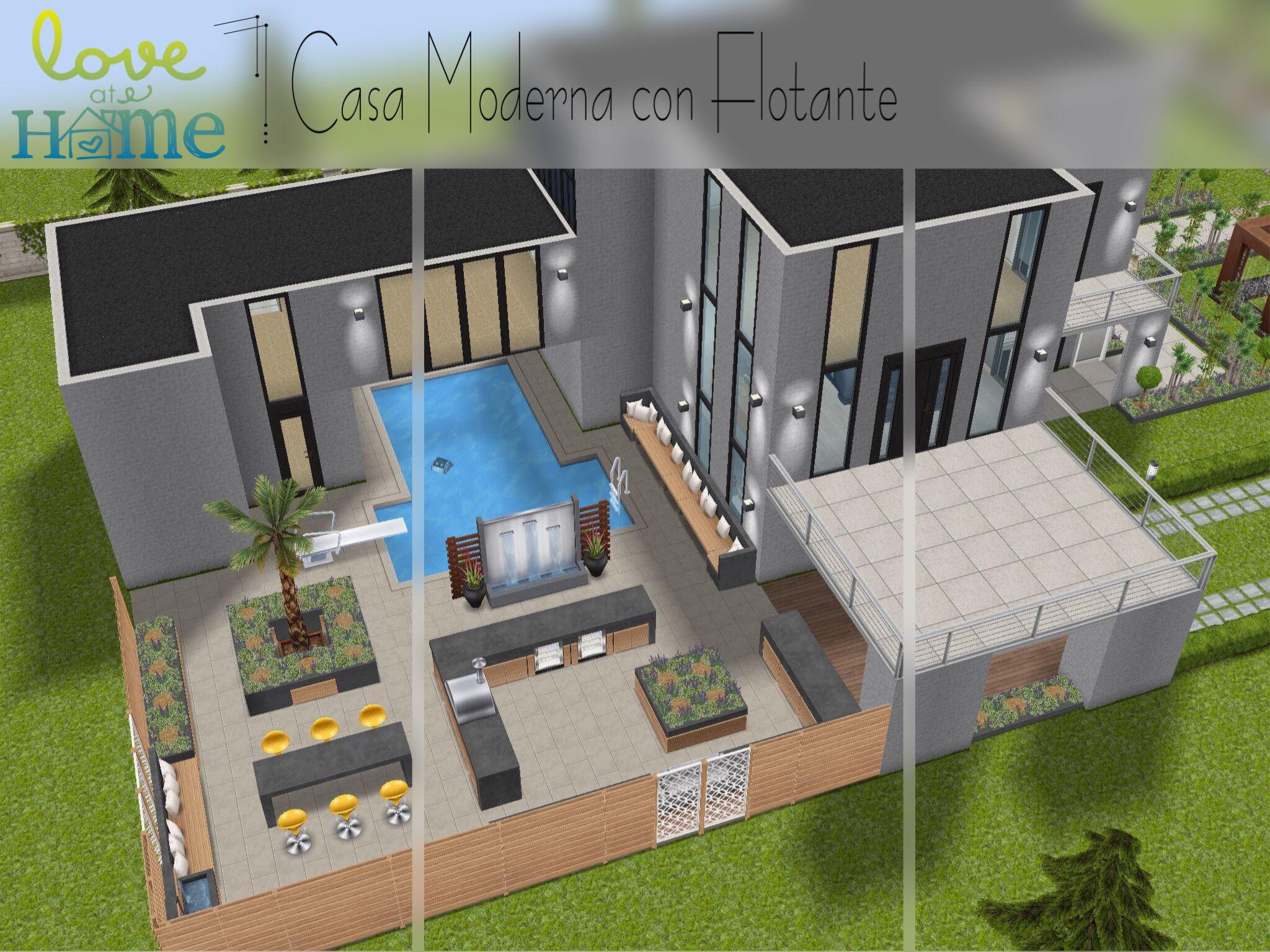 Casa en solar grande con flotante sin hack the sims for Casa moderna sims 3 sin expansiones