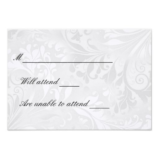 White Damask RSVP cards Personalized Invite